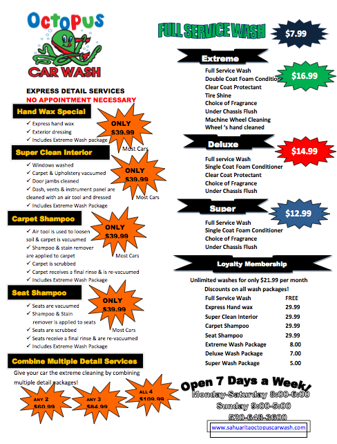 Simoniz Car Wash Menu